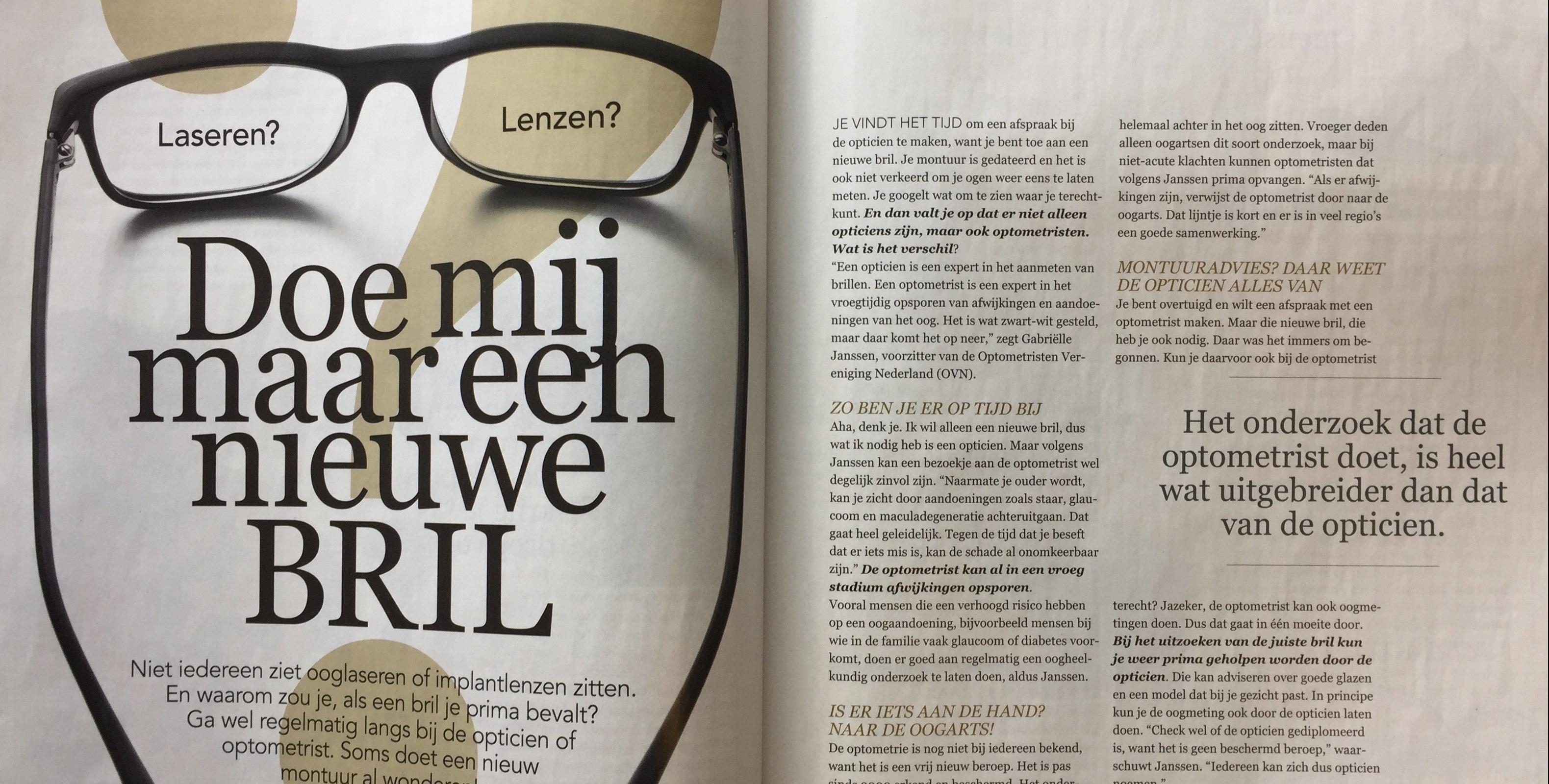 OVN geïnterviewd door tijdschrift Plus Magazine voor special over ogen